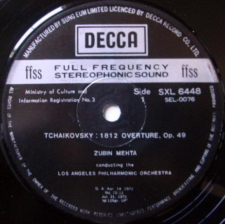 DECCA SXL-NB / MEHTA, - Tchaikovsky 1812, Romeo & Juliet Overture, NM!