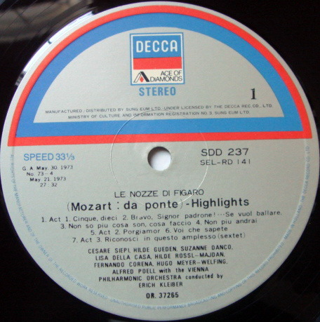 DECCA SDD / ERICH KLEIBER, - Mozart The Marriage of Figaro Highlights, NM!