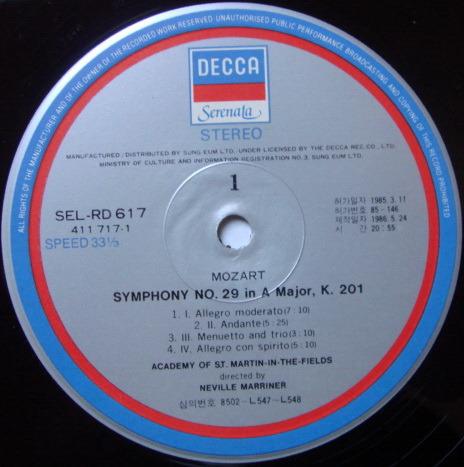 DECCA Serenata / MARRINER, - Mozart Symphonies No.25 & 29, NM!