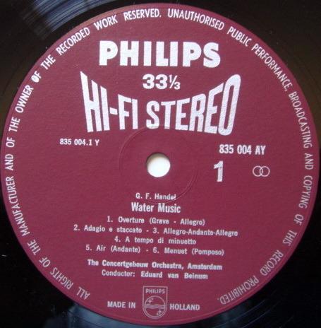 ★1st Press★ PHILIPS HI-FI STEREO / VAN BEIMUM, - Handel Water Music, NM!