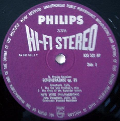 ★1st Press★ PHILIPS HI-FI STEREO / BERNSTEIN, - Rimsky-Korsakov Scheherazade, NM!