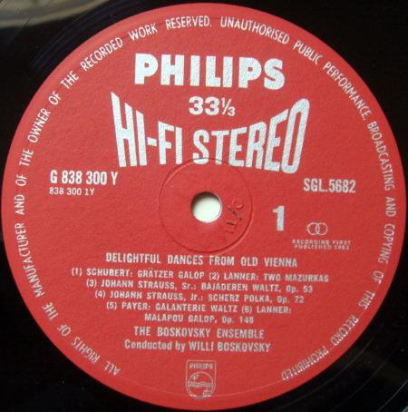 ★1st Press★ UK PHILIPS HI-FI STEREO / BOSKOVSKY, - Delightful Dances from Old Vienna, NM!