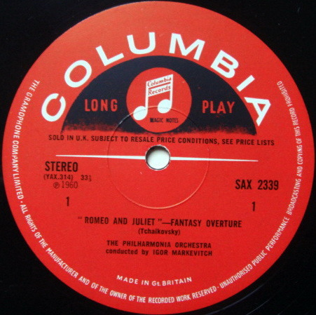 UK COLUMBIA SAX SEMI-CIRCLE / MARKEVITCH, - Tchaikovsky Romeo & Juliet, NM!