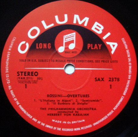 UK COLUMBIA SAX SEMI-CIRCLE / KARAJAN, - Rossini William Tell Overture & the Famous Five, NM-!
