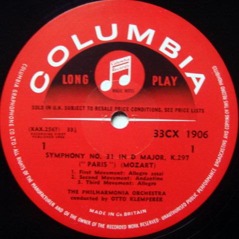 UK COLUMBIA SAX SEMI-CIRCLE MONO / KLEMPERER , - Mozart Symphonies No.31 Paris & 34, NM!