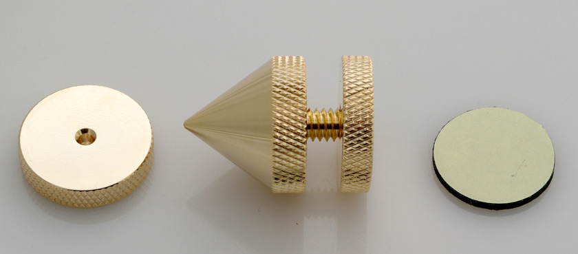 SuperCellAudio®  Audio Cones / Floor Spikes  Gold Plated, Set of 8.