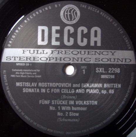 ★Audiophile 180g★ DECCA-Alto FMS / ROSTROPOVITCH, - Britten-Debussy Cello Sonatas, MINT(OOP)!