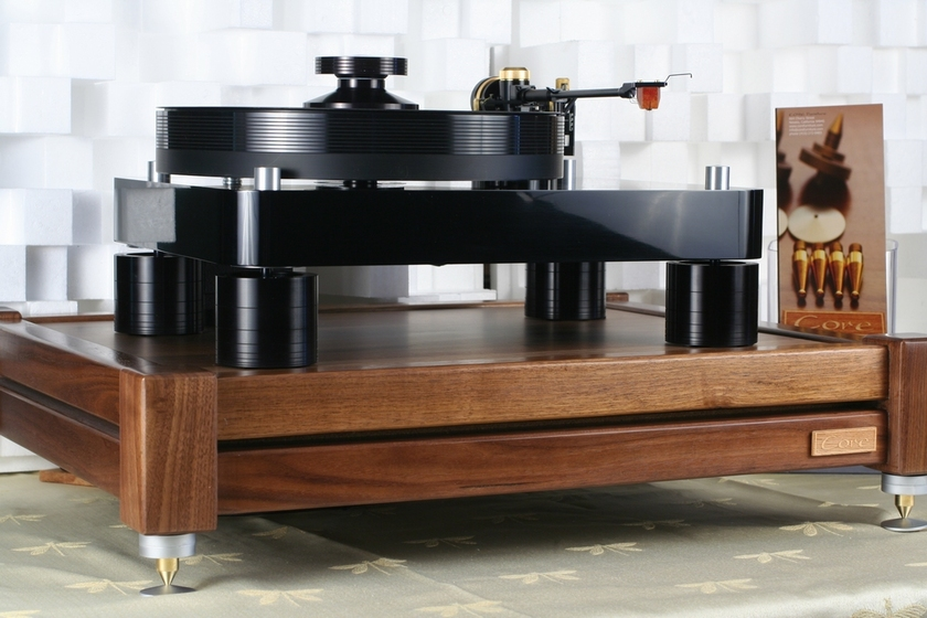 "Core Audio Designs Model ""A"" CLD STD. v.2 Lead filled amp stand. Solid walnut, natural maple, or Maple with Cherry stain."