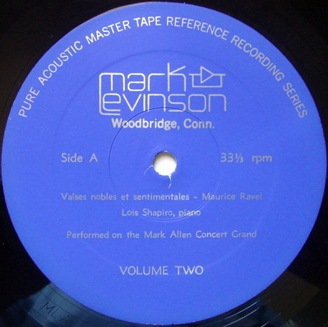 ★Audiophile★ Mark Levinson, - Pure Acoustic Master Tape - Volume 2, First Press US Blue Label!