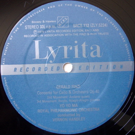 ★Audiophile★ Lyrita-Decca / YO-YO MA, - Finzi Cello Concerto, MINT, TAS LP!
