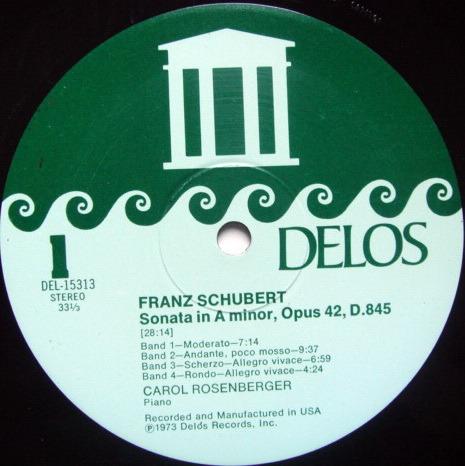 ★Audiophile★ Delos / ROSENBERGER, - Schubert Piano Sonata & Impromptus, NM!