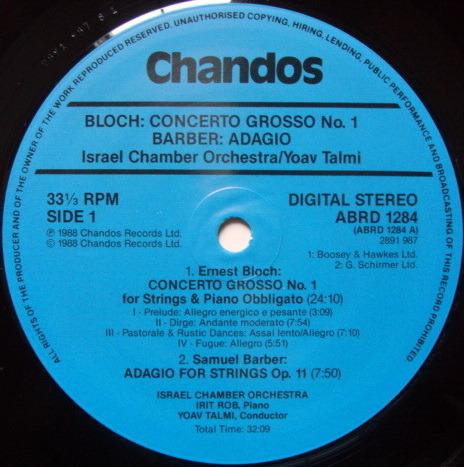 ★Audiophile★ Chandos / TALMI-MAR, - Barber Adagio for Strings, NM!