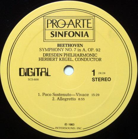 ★Audiophile★ Pro Arte / KEGEL, - Beethoven Symphony No.7, NM!