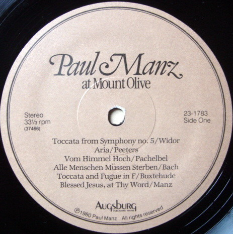 ★Audiophile★ Augsburg / MANZ, - Paul Manz at Mount Olive, NM!