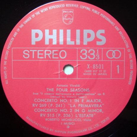 ★Audiophile★ Japan Philips / I MUSICI-MICHELUCCI,  - Vivaldi The Four Seasons,  NM!