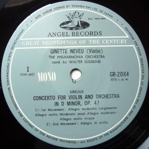 ★Audiophile★ Toshiba EMI / GINETTE NEVUE, - Sibelius Violin Concerto, NM!