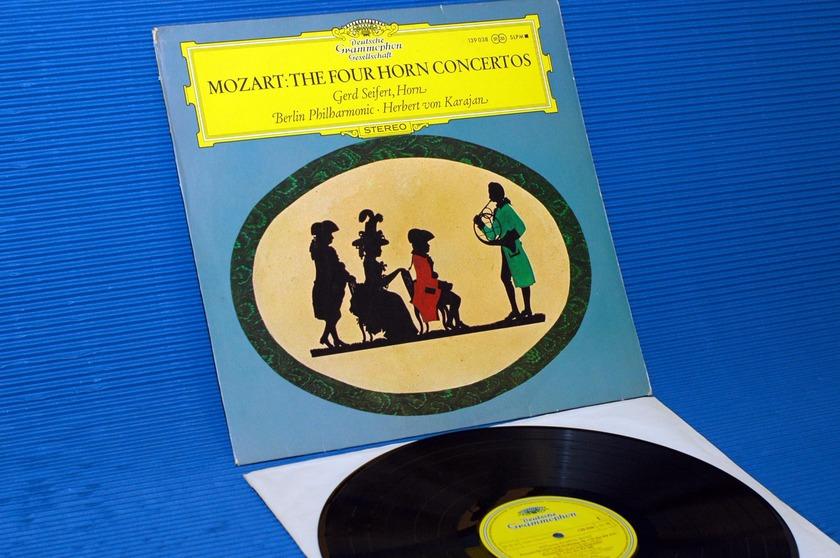 """MOZART / Von Karajan  - """"The 4 Horn Concertos"""" -  Deutsche Grammophon import 1969"""