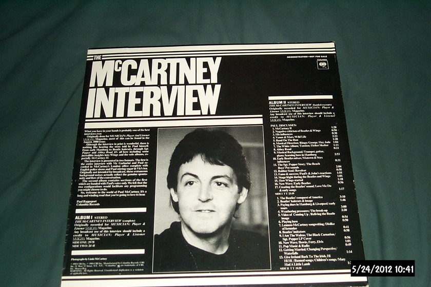 Paul McCartney - The McCartney Interview 2 LP White Label Promo LP NM