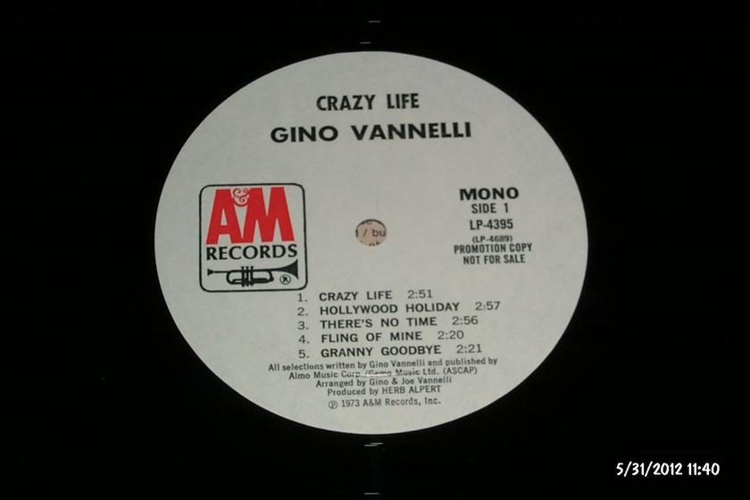Gino Vannelli - Crazy Life MONO  Promo LP NM A & M Label
