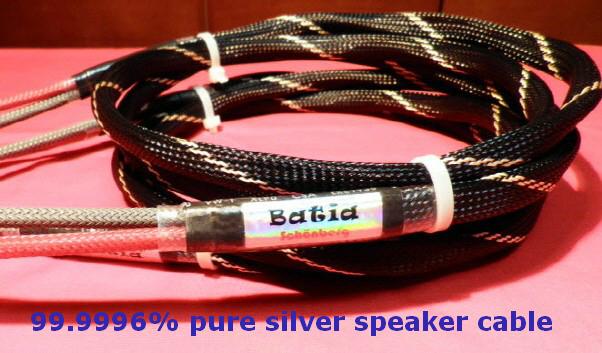schonberg labs Batia 99.9996% pure silver/natural cotton speaker cable 8ft