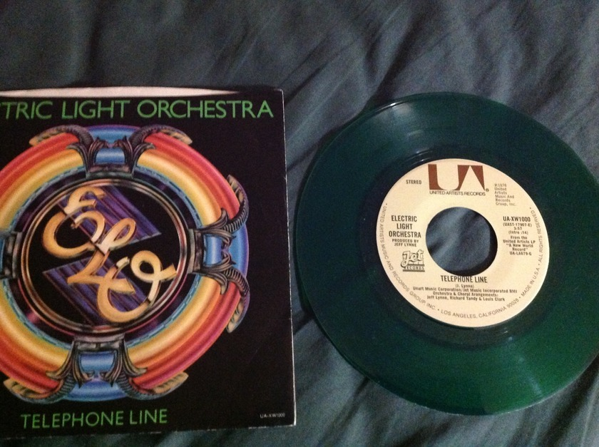 Elo - Telephone Line Green vinyl 45 With Sleeve