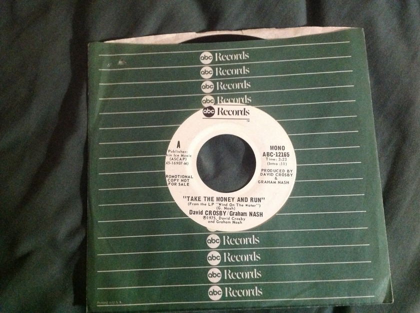 David Crosby Graham Nash - Take The Money And Run Promo 45 Mono Stereo